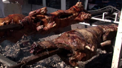 Two pigs are roasted on the grill - stock footage