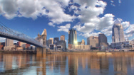 Stock Video Footage of Cincinnati Skyline Timelapse--Blue Sky and Puffy Clouds