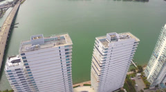 Aerial video of buildings in Miami Stock Footage