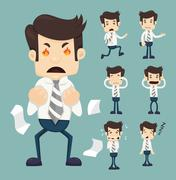Stock Illustration of set of businessman characters poses