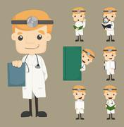 Set of doctor characters poses Stock Illustration