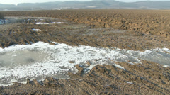 Countryside Continental Snowless Winter 3 plough field ice Stock Footage