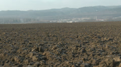 Countryside Continental Snowless Winter 7 plough field Stock Footage