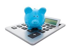 calculate the savings with clipping path - stock photo