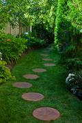 Shady garden path Stock Photos