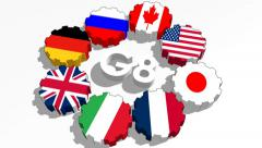 G8 countries flags on gears Stock Footage