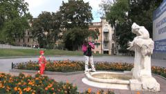 Ukraine 56 Odessa tourist and statue cx Stock Footage
