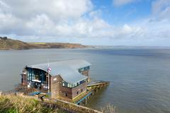 RNLI Lifeboat station house Tenby coast Pembrokeshire Wales UK - stock photo