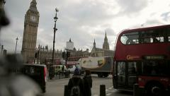 Busy parliament square westminster Stock Footage