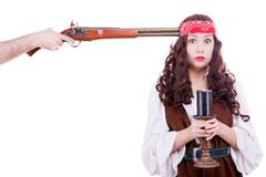 pirate with musket at head - stock photo