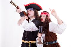 Two pirates on white background Stock Photos