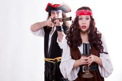 pirate on white background - stock photo