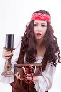 pirate woman on white background - stock photo