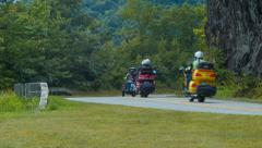 Motorcycle Club Convoy on Blue Ridge Parkway in NC Stock Footage