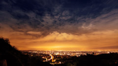 Stock Video Footage of 4K. Los Angeles city skyline night timelapse.View from Hollywood Hills.