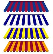 Eps vector 10 - colorful set of striped awnings Stock Illustration