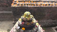 Buddhist prayer place  and objects in Lumbini, Nepal Stock Footage