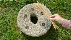 Put on old millstone wheat ears  – symbol of harvest Stock Footage