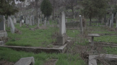 Old haunted cemetery [flycam] running Stock Footage
