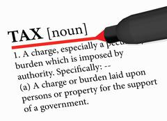 Dictionary term of tax isolated on white background Stock Illustration