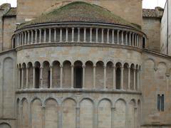 arezzo - romanesque apse of santa maria della pieve in piazza grande, - stock photo