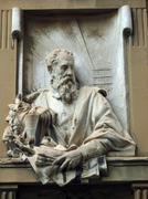 giorgio bust vasari at piazza grande in arezzo - stock photo