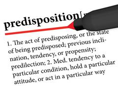 Dictionary term of predisposition isolated on white background Stock Illustration
