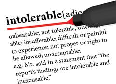 Dictionary term of intolerable Stock Illustration