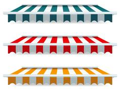 eps vector 10 - colorful set of striped awnings - stock illustration