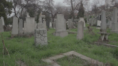Old haunted cemetery [ [18th century grave] Stock Footage