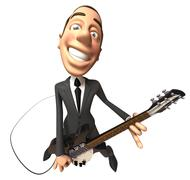 Businessman playing guitar Stock Illustration
