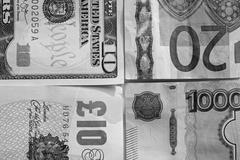 Banknotes: dollar, euro, british pound sterling, ruble. Stock Photos