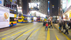 Hong Kong Causeway Bay downtown busy traffic commuters zebra cross China Asia Stock Footage