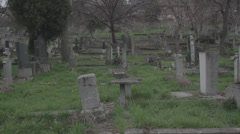 Old haunted cemetery [monuments] Stock Footage
