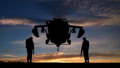 Black Hawk Helicopter Rising In The Sunset Stock Footage