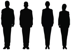 eps 10 vector. business people standing still in silhouette. - stock illustration