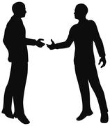 eps 10 vector. handshake of business people standing up in silhouette. - stock illustration