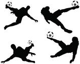 Stock Illustration of isolated poses of soccer players silhouettes in air position