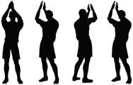 Stock Illustration of isolated poses of soccer players silhouettes in rejoices position