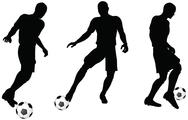 Stock Illustration of isolated poses of soccer players silhouettes in dribble position
