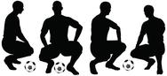 Stock Illustration of isolated poses of soccer players silhouettes in sitting position