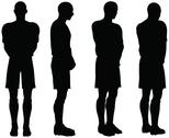 Stock Illustration of isolated poses of soccer players silhouettes in defense position
