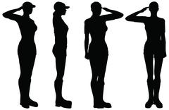 Eps 10 vector of soldier, officer, captain, policeman saluting Stock Illustration