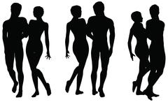 vector drawing of couple silhouettes on walking position - stock illustration
