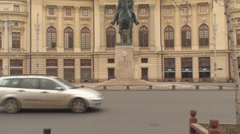 University Foundation And The Statue Of Carol The First In Bucharest Tilt-Shot - stock footage
