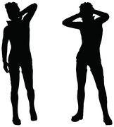 Eps 10 vector of man silhouette in sexy position on white background Stock Illustration
