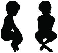 eps 10 vector. kids silhouettes in position of sitting isolated on white. - stock illustration