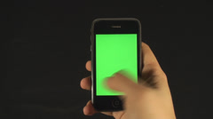 Smartphone With Green Screen Man Hands Detail Making Gestures Point Of View Stock Footage