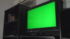 Green Screen TV In A Living Room Still Side-Shot Stock Footage