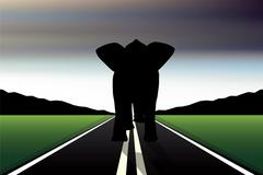 eps 10 editable vector silhouette of african elephant in walk pose on a road - stock illustration